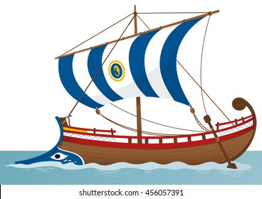 colored illustration of an ancient greek sailing boat