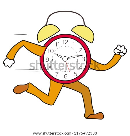 Colored Illustration Clock Running Very Fast Stock Vector Royalty