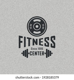 Colored illustration of a disc barbell, dumbbell, text on a background with a texture. Vector illustration with grunge texture for emblem, poster, label, badge. Fitness center advertisement.
