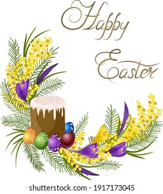Colored illustration with Easter greetings.Easter cake and colorful eggs in color vector illustration isolated on white background.
