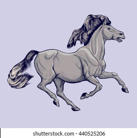 Colored illustration of a galloping grey horse.