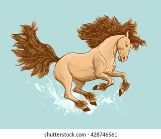 Colored illustration of a galloping horse. Running on the water.