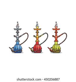 Colored illustration for hookah shop