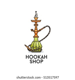 Colored illustration for hookah shop