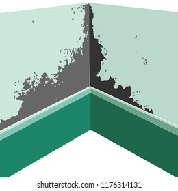 colored illustration for Inside of a room wall Damp Mould can irritate eyes skin and nose ruin your home condensation destroy health