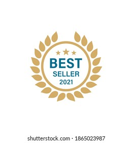 Colored illustration of laurel wreath, stars, text, circle on a white background. Vector illustration for logo, emblem, badge, sticker. Best seller of the year award badge.