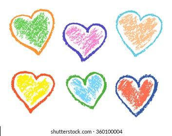 Colored illustration with love hearts on white. Set of funny hearts. Colorful pastel chalk crayon hand drawing valentine`s day`s design elements, vector background.
