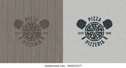 Colored illustration pizza, shovel, text on background with grunge and wood texture.Vector illustration in vintage style for emblem, poster, label, badge.Pizzeria.Pizza making and selling.