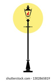 colored image of a shining London lamppost.  stylized vector.