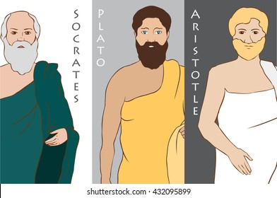 Colored images of ancient greek scientist and philosopher - Socrates, Plato, Aristotle.