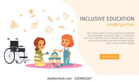 Colored inclusion inclusive education banner with kindergarden description and read more button vector illustration