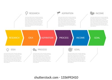 Colored infografics arrow with different colors and options simple plan actions. Business design.