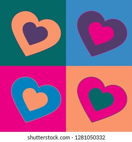 Colored inside into hearts set illustration vector print