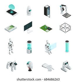 Colored and isolated artificial intelligence isometric icon set with electronics and new technologies in human life vector illustration