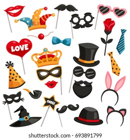 Colored and isolated carnival photo booth party icon set with masks of various characters vector illustration