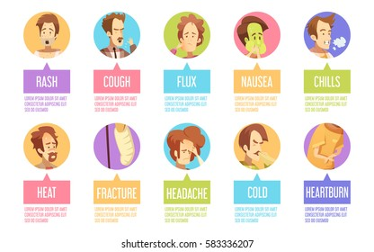 Colored and isolated cartoon sickness man icon set with cold headache chills flux rash descriptions vector illustration