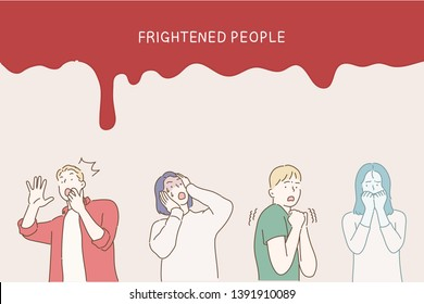 Colored and isolated fear person icon set with men and women are afraid of something and red headline frightened people. Hand drawn style vector design illustrations.