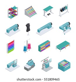 Colored and isolated garment factory isometric icon set machines sewing machines garment manufacturing vector illustration