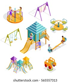 Colored and isolated isometric swinging kids icon set with different types of elements and shells on the playground vector illustration