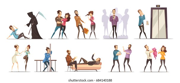 Colored and isolated phobia fear obsession icon set with people meet their fears vector illustration