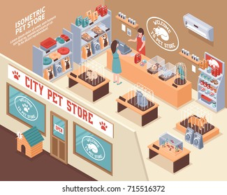 Colored isometric 3d pet shop composition with city pet store and visitors vector illustration