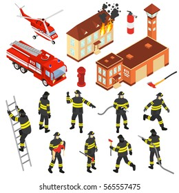 Colored isometric fire department icon set with attributes to extinguish a fire and firefighters vector illustration