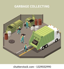 Colored and isometric garbage recycling composition with garbage collecting and workers scavengers vector illustration