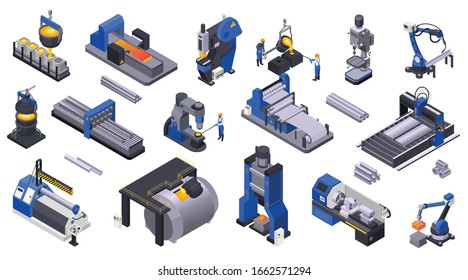 Colored isometric icons set with metal industry  plant machinery and workers 3d isolated vector illustration