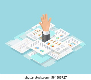 Colored isometric office paper drowning composition with mans hand reaches out of paper vector illustration