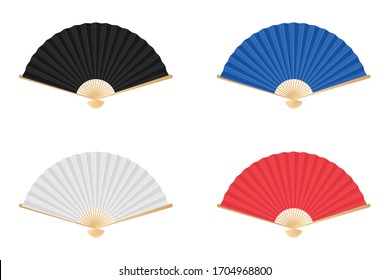 Colored japan folding fan vector illustration isolated on white