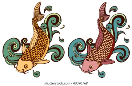 colored koi variations