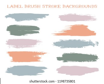 Colored label brush stroke backgrounds, paint or ink smudges vector for tags and stamps design. Painted label backgrounds patch. Interior paint color palette swatches. Ink smudges, stains, pale spots.