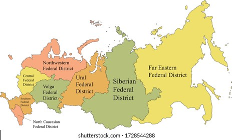 Colored Labeled Federal Districts Map of Eurasian Country of Russia