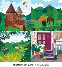 Colored landscape 2x2 icons set with church horses forest house front door flat isolated vector illustration