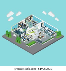 Colored layout of office isometric composition with green trees around and parking zone vector illustration