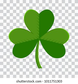 Colored leaf clover icon on transparent background. Vector illustration