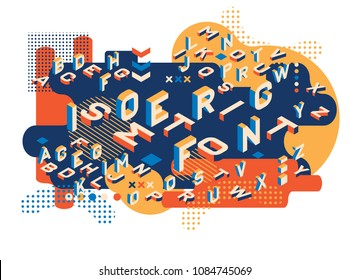 Colored letters Memphis style. Isometric letters set. Creative trend letters in isometric form. ector illustration 10 eps.