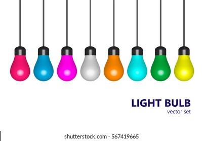Colored light bulbs, set