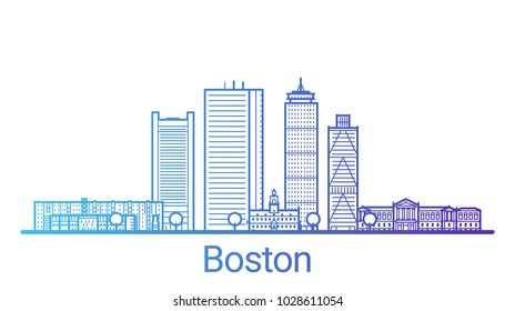 Colored line banner of Boston city. All buildings - customizable different objects with clipping mask, so you can change background and composition. Line art.