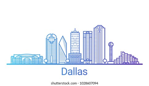 Colored line banner of Dallas city. All buildings - customizable different objects with clipping mask, so you can change background and composition. Line art.