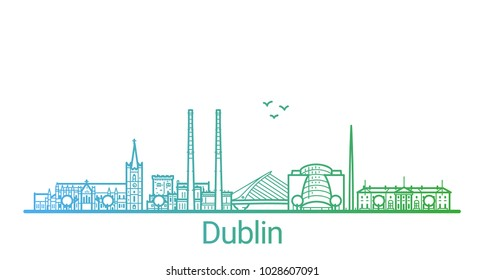Colored line banner of Dublin city. All buildings - customizable different objects with clipping mask, so you can change background and composition. Line art.