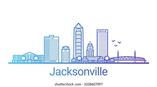 Colored line banner of Jacksonville city. All buildings - customizable different objects with clipping mask, so you can change background and composition. Line art.