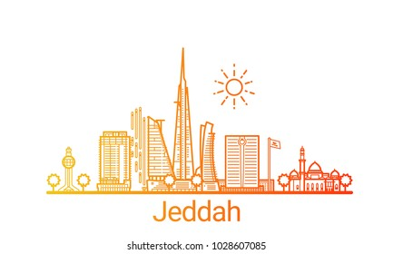 Colored line banner of Jeddah city. All buildings - customizable different objects with clipping mask, so you can change background and composition. Line art.