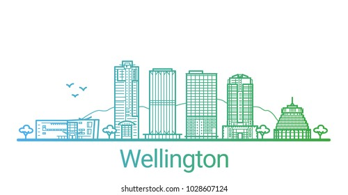 Colored line banner of Wellington city. All buildings - customizable different objects with clipping mask, so you can change background and composition. Line art.