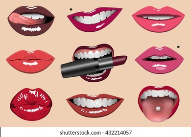 Colored lips set vector