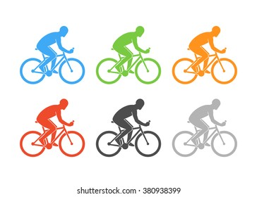 Colored logo cycling on a white background. Vector cyclist figure on a white background.