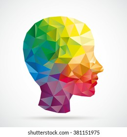Colored low poly human head on the white background. Eps 10 vector file.