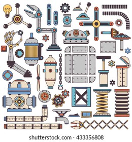 Colored machinery components and spare parts with a stroke in doodle style.