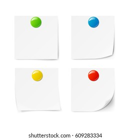 Colored magnets isolated on white background. Vector illustration.