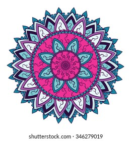 Colored mandala with Asian and Indian motifs. Round vector ornament